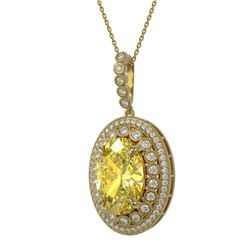 18.56 ctw Canary Citrine & Diamond Victorian Necklace 14K Yellow Gold