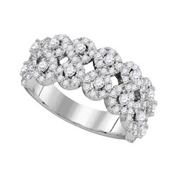 14kt White Gold Round Diamond Double Row Circle Cluster Band 1-3/8 Cttw