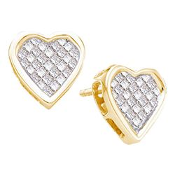 14kt Yellow Gold Princess Diamond Cluster Heart Screwback Stud Earrings 1/2 Cttw