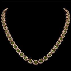 31.1 ctw Tourmaline & Diamond Micro Pave Halo Necklace 10k Rose Gold