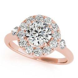 1 ctw Certified VS/SI Diamond Halo Ring 18k Rose Gold