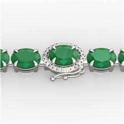 37 ctw Emerald & VS/SI Diamond Micro Pave Bracelet 14k White Gold