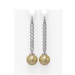 1.44 ctw Diamond & Pearl Earrings 18K White Gold