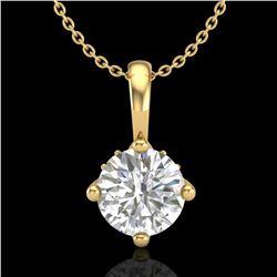 0.82 ctw VS/SI Diamond Solitaire Art Deco Necklace 18k Yellow Gold