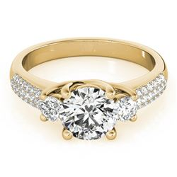 1.25 ctw VS/SI Diamond 3 Stone Micro Pave Ring 14k Yellow Gold