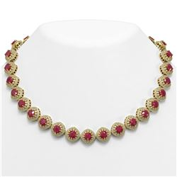 82.17 ctw Certified Ruby & Diamond Victorian Necklace 14K Yellow Gold