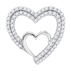 10kt White Gold Round Diamond Double Nested Heart Pendant 1/2 Cttw