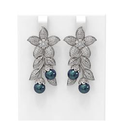 3.05 ctw Diamond & Pearl Earrings 18K White Gold