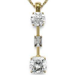 2.5 ctw Cushion Cut Diamond Designer Necklace 18K Yellow Gold