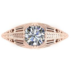 1 ctw Solitaire Certified VS/SI Diamond Ring Art Deco 14k Rose Gold