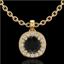 1.1 ctw Fancy Black Diamond Art Deco Stud Necklace 18k Yellow Gold