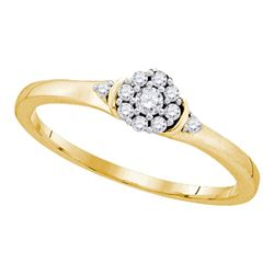 10kt Yellow Gold Round Diamond Cluster Promise Bridal Ring 1/6 Cttw