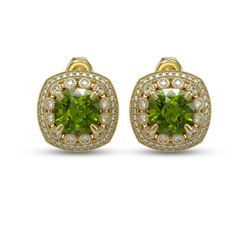 13.69 ctw Tourmaline & Diamond Victorian Earrings 14K Yellow Gold