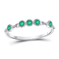 10kt White Gold Round Emerald Dot Stackable Band Ring 1/20 Cttw