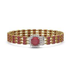31.91 ctw Ruby & Diamond Bracelet 14K Yellow Gold