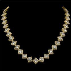 26.88 ctw Princess Cut Diamond Micro Pave Necklace 18K Yellow Gold
