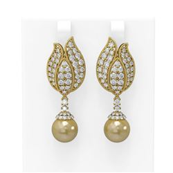 4.77 ctw Diamond Golden Pearl Earrings 18K Yellow Gold