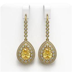 8.15 ctw Canary Citrine & Diamond Victorian Earrings 14K Yellow Gold