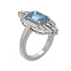 5.1 ctw Blue Topaz & Diamond Ring 18K White Gold