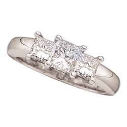 14kt White Gold Princess Diamond 3-stone Bridal Wedding Engagement Ring 3/4 Cttw