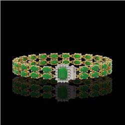 12.3 ctw Jade & Diamond Bracelet 14K Yellow Gold