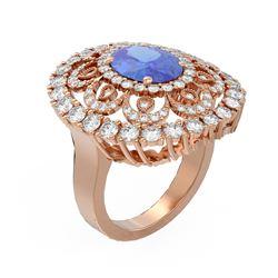 6.51 ctw Tanzanite & Diamond Ring 18K Rose Gold