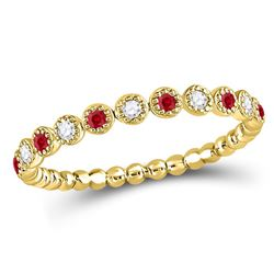 10kt Yellow Gold Round Ruby Diamond Beaded Dot Stackable Band Ring 1/6 Cttw