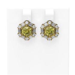 3.74 ctw Fancy Yellow Diamond Earrings 18K Yellow Gold