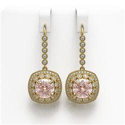 11.6 ctw Morganite & Diamond Victorian Earrings 14K Yellow Gold