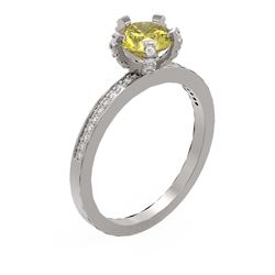 1.35 ctw Fancy Yellow Diamond Ring 18K White Gold