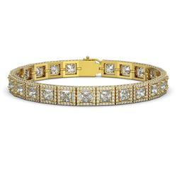 18.24 ctw Princess Cut Diamond Micro Pave Bracelet 18K Yellow Gold
