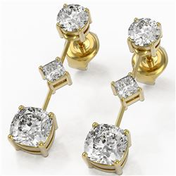 2.32 ctw Cushion Cut Diamond Designer Earrings 18K Yellow Gold