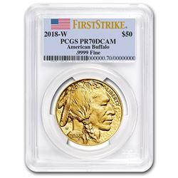 2018-W 1 oz Proof Gold Buffalo PR-70 PCGS (FS, Flag Label)