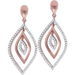 10kt Rose Gold Round Diamond Nested Oval Dangle Earrings 3/8 Cttw