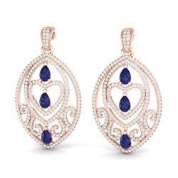7 ctw Tanzanite & Micro Pave Diamond Heart Earrings 14k Rose Gold