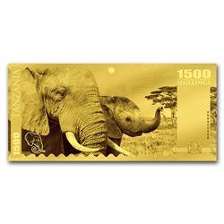 2018 Tanzania 1 gram Gold Big Five Elephant Foil Gold Note