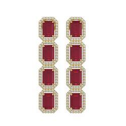 12.33 ctw Ruby & Diamond Micro Pave Halo Earrings 10k Yellow Gold