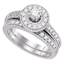 14kt White Gold Round Diamond Halo Bridal Wedding Engagement Ring Band Set 1.00 Cttw