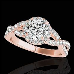 1.54 ctw Certified Diamond Solitaire Halo Ring 10k Rose Gold