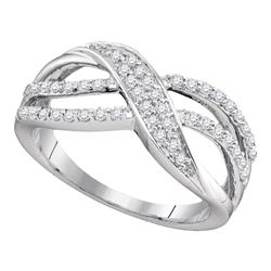 10kt White Gold Round Diamond Crossover Band Ring 1/3 Cttw