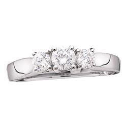14kt White Gold Round Diamond 3-stone Bridal Wedding Engagement Ring 1.00 Cttw