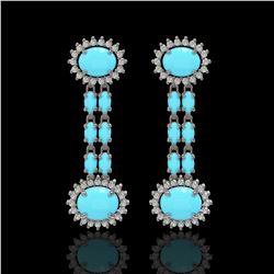 7.39 ctw Turquoise & Diamond Earrings 14K White Gold