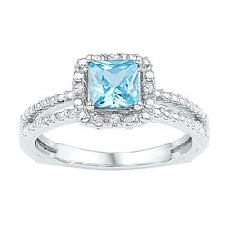 Sterling Silver Princess Lab-Created Blue Topaz Solitaire Ring 1.00 Cttw