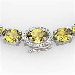 45.25 ctw Citrine & VS/SI Diamond Micro Pave Necklace 14k White Gold