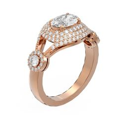 2.19 ctw Oval Diamond Ring 18K Rose Gold