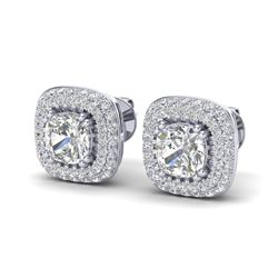 2.16 ctw Micro Pave VS/SI Diamond Earrings Halo 18k White Gold