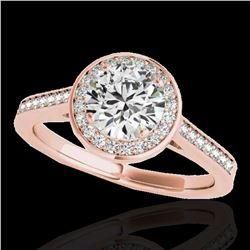 1.33 ctw Certified Diamond Solitaire Halo Ring 10k Rose Gold