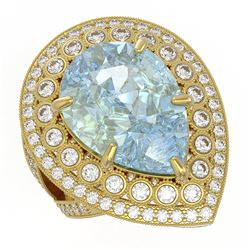 18.04 ctw Certified Sky Topaz & Diamond Victorian Ring 14K Yellow Gold