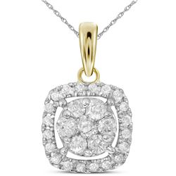14kt Yellow Gold Round Diamond Square Cluster Pendant 1/4 Cttw