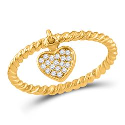 10kt Yellow Gold Round Diamond Heart Dangle Rope Stackable Band Ring 1/10 Cttw
